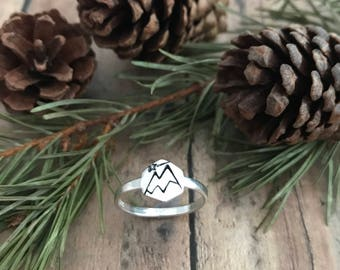 Mountains and Shooting Star Ring, Hand Stamped Sterling Silver Snow Capped Mountains and Shooting Star Hexagon Ring