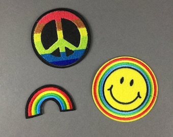 Smiley Face Rainbow Peace Sign Patch