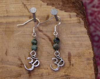 Sterling and tibetan Silver and African Turquoise Ohm Earrings