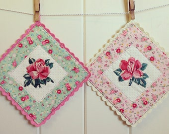 recreate a vintage rose embroidered pot holder