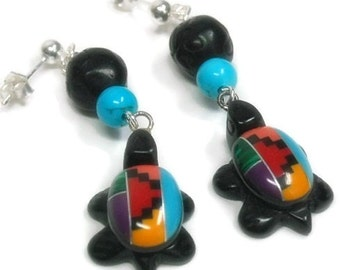 Turtle Earrings - Inlay Turtle Dangle Earrings - Turquoise - Southwest - Cowgirl - Folklore - Native- Turtle Jewelry - Symbolic Animal