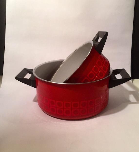 Vintage German Silit Red Enamelware Geometric Pattern Pair of Mid Century Pots