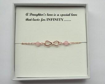 Daughter gift, Rose gold infinity gemstone bracelet, Rose gold infinity bracelet, Infinity bracelet, Infinity jewelry