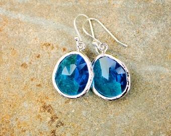Blue Glass Earrings Blue Earring Blue Drop Earring Sapphire Earring Silver Earring Blue Dangle Earring Bridesmaid Gift for Her Handmade