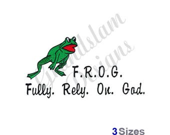 Frog Fully Rely On God - Machine Embroidery Design
