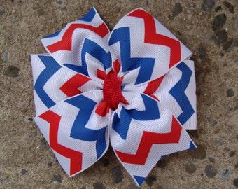 4th of July Hair Bow Large Pinwheel hair bow Chevron hair bow Back to school hair bow