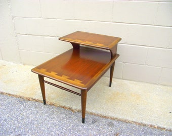 Lane Acclaim Table - 2 Tier Step Back End Side Table Dovetail Style - Mid Century Modern - Danish Modern Furniture - American RETRO #121