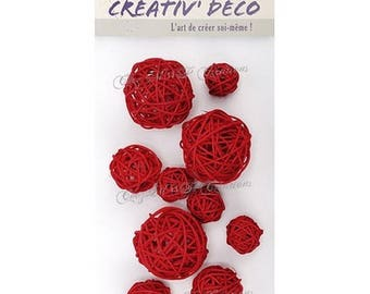 Set of 10 balls Wicker (red or natural)