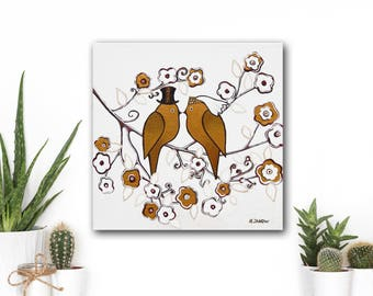 Wedding Gift for Couple, Love Birds Wedding Art Painting, Wedding Wall Art Original Painting, Anniversary Gift, White and Gold