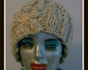HAT WOMEN KNITTED  Woman Hat Knitted Bulky Chunky Warm Winter Wheat Color