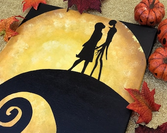 """""""Simply Meant To Be"""" - Painted Canvas Inspired by Tim Birton's The Nightmare Before Christmas"""