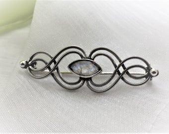 Beautiful Rainbow Moonstone Gemstone Sterling Silver Brooch