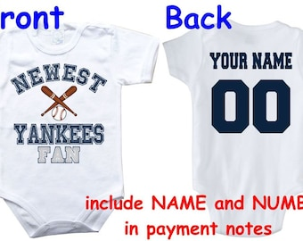 Baby bodysuit Newest fan Yankees customized personalized NAME NUMBER One Piece Bodysuit Funny Baby Child boy Clothing Kid's Shower boy