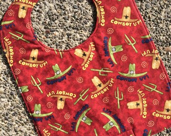 TODDLER or NEWBORN Bib: Cowboy Up on Red, Personalization Available