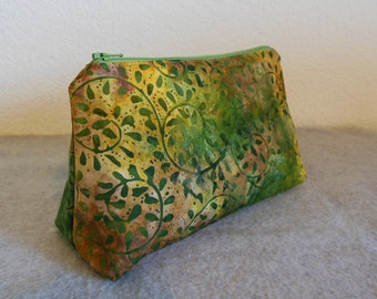 Cosmetic Bag - Green Leaves Batik