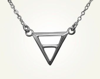 Triangle Necklace, Inverted Triangle, Silver Triangle Necklace, Virgo Necklace, Taurus Necklace, Capricorn Necklace, EARTH ALCHEMY CHARM.