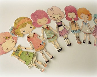 Collection of Seven Colour-Your-Own Paper Dolls