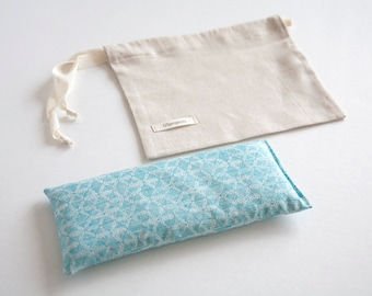 Organic Eye pillow - Organic lavender and flax seeds eye pillow - Light Blue Geometric Organic - Aromatherapy  - Yoga Relaxation - Gift idea