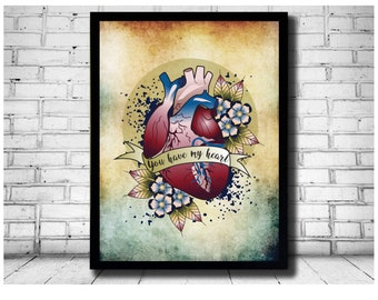 anatomical heart, print, heart illustration, tattoo heart, hearts and flowers, anatomical tattoo, heart, medical drawings, doctor gift