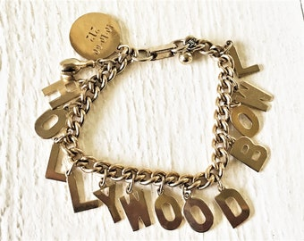 Vintage bracelet Hollywood Bowl souvenir gold toned chain charms 1960s /free shipping US