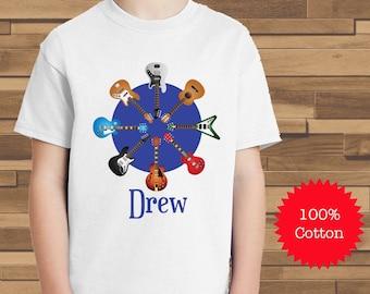 Personalized Rock Star Guitar Shirt   100% Cotton Shirt   Musician   Electric Guitar    Custom Boys Shirt   Personalized Shirt Boys
