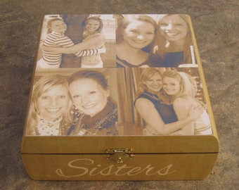 Maid of Honor Photo Collage Keepsake Box, Personalized Sister Gift, Custom Bridesmaid Memory Box, Unique Wedding, Best Friend Birthday Gift