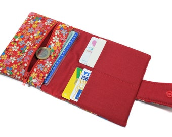 small wallet strapes Japanese Red woman, bag accessory, women gift, mothers day, MOM gift