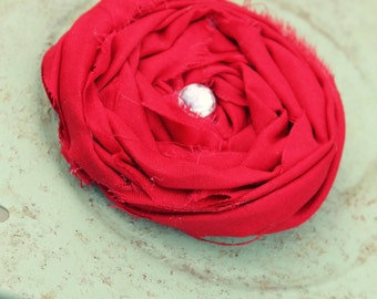 Red Rolled Flower Pin, Bag or Scarf