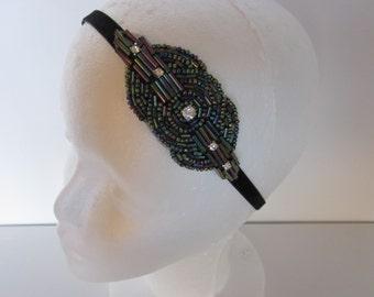 1920s Flapper Headband Great Gatsby Headpiece Rhinestone Beaded Headdress