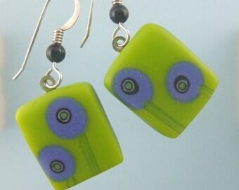 Lime Lollipop Tree Earrings, Fused Glass Jewelry Handmade in NC