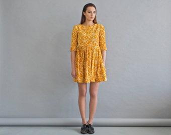 Pleated mustard dress - Womens velor dress - Ethnic fashion dress - Warm yellow dress - Floral casual dress - Women spring dress
