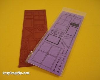 Blank Postal Frames / Invoke Arts Collage Rubber Stamps / Unmounted Stamp Set