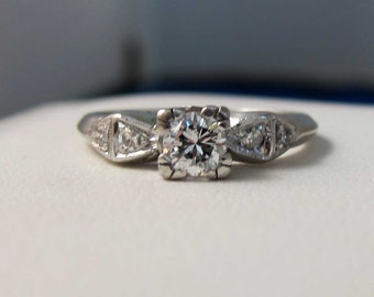 Antique Art Deco Platinum .40 Ct. Diamond Engagement Ring