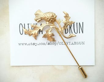 Gold Scottish Thistle Stick Pin Scottish Thistle Lapel Pin Scottish Thistle Brooch Scottish Thistle Jewelry Flower Brooch Wedding Accesories