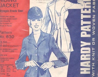 Jean Hardy 630 1970s Misses English Riding Jacket Pattern Frock Coat Womens Equestrian Vintage Sewing Pattern  Size 6 8 10 12 14 16 UNCUT