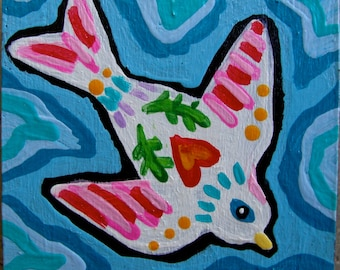 Original Small Folk Art Whimsical Bird Magnet