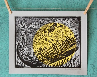 FACTORY WHALE - linocut print in black and yellow ink on light blue paper