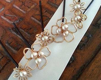 Pearl Hair Pins, Pearl Bobby Pins, Set of SIX, Gold Hair Accessory, Wedding Headpiece, Hairpin Set, Bridesmaid Gift, Bridal Hair Jewelry