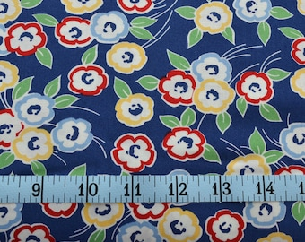Hi De Ho Fabric - Flower Fabric - Red and Yellow on Blue Material - Quilting Fabric - By The Yard - Cotton Yardage - Fat Quarter, Half Yard
