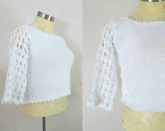 White Cotton Crochet Crop Top Vintage 1980s Rico Hand Knits Small