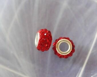 metal red rhinestone charm bead