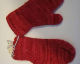 Hand knit felted mittens