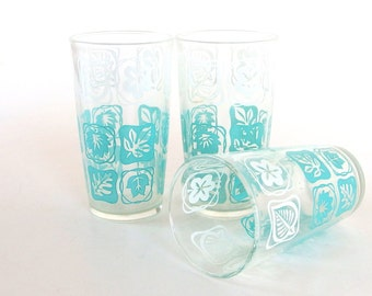 4 Retro  Dishes - Mid Century Modern Turquoise and White Glass Water Tumblers, Set of 4 from Hazel Atlas