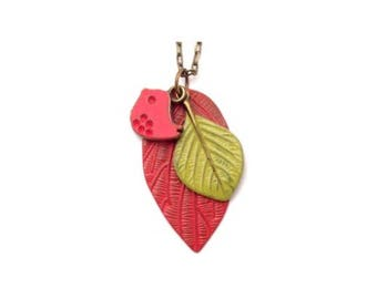"""Red Bird and Leaf Charm Necklace Hand Painted 28"""""""