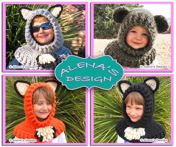 Crochet Pattern 120 - Crochet Hooded Cowl with Ears - Crochet Patterns - Wolf Fox Cat Bear Cowl Animals Hat Costume Winter Hat Neck Warmer