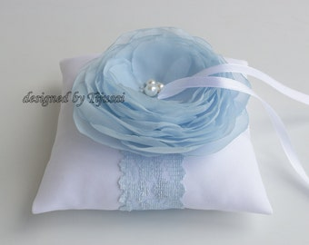 Wedding ring pillow with sky blue flower---wedding ring pillow , wedding pillow, ring cushion