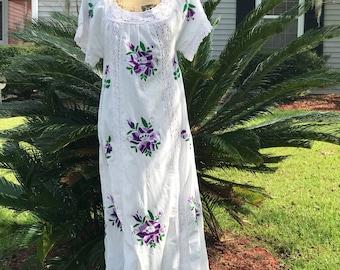 Mexicai Embroidered Dress 1960's   Authentic LA Vintage   Boho Chic Maxi   Southwestern Tribal