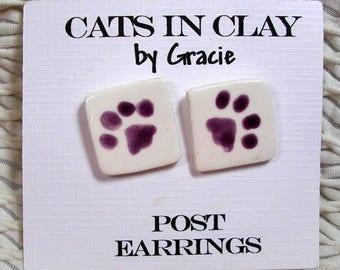 Purple Paw Print Post Earrings In Clay Handmade by Grace M. Smith