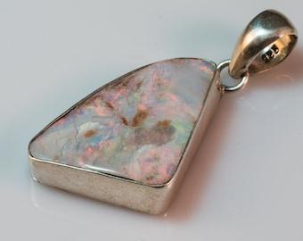 amazing royal white boulder opal pendant in 925 silver