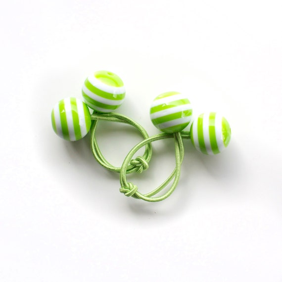 LIGHT GREEN STRIPES. Hair ties. Elastic hair ties. Funky. Retro style hair bobbles.